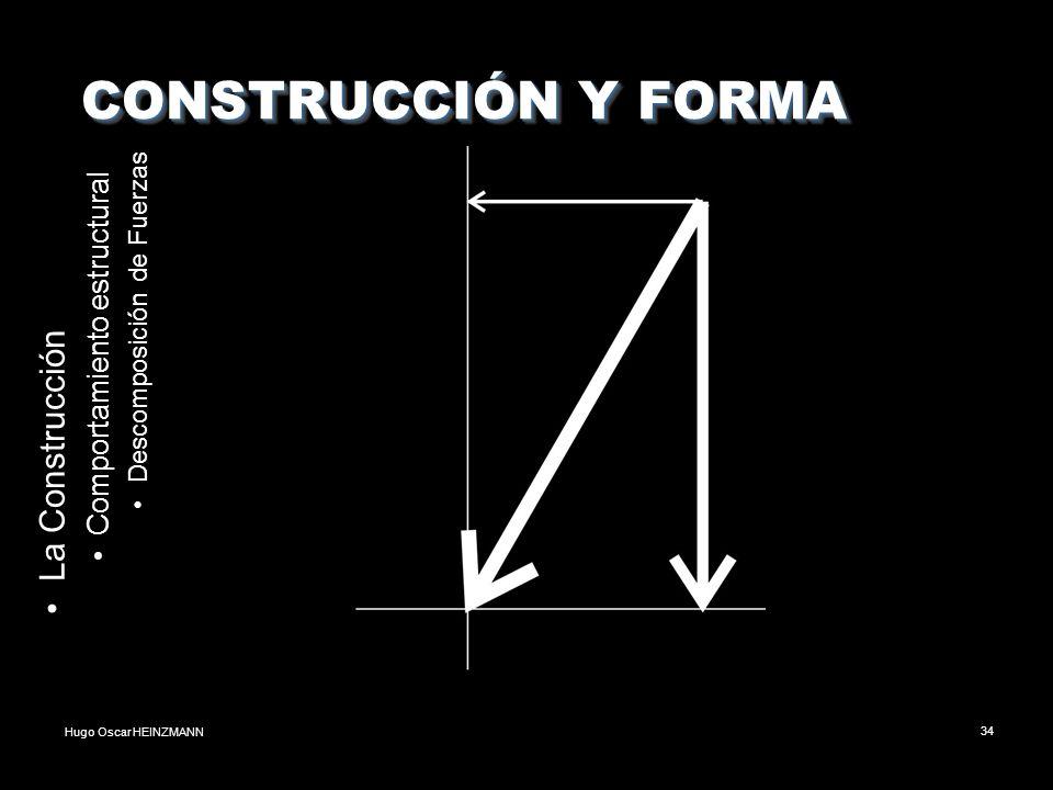 Hugo Oscar HEINZMANN34 CONSTRUCCIÓN Y FORMA CONSTRUCCIÓN Y FORMA La Construcción Comportamiento estructural Descomposición de Fuerzas