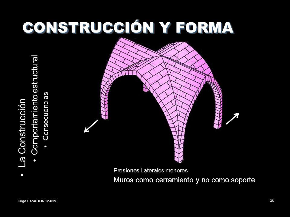 Hugo Oscar HEINZMANN36 CONSTRUCCIÓN Y FORMA CONSTRUCCIÓN Y FORMA La Construcción Comportamiento estructural Consecuencias Presiones Laterales menores