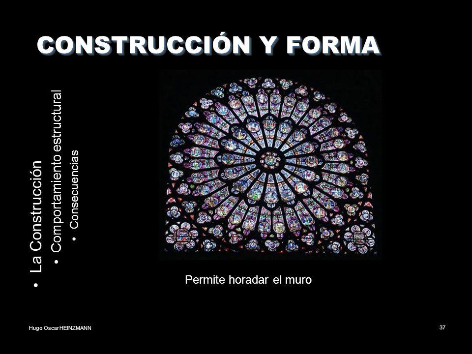 Hugo Oscar HEINZMANN37 CONSTRUCCIÓN Y FORMA CONSTRUCCIÓN Y FORMA La Construcción Comportamiento estructural Consecuencias Permite horadar el muro