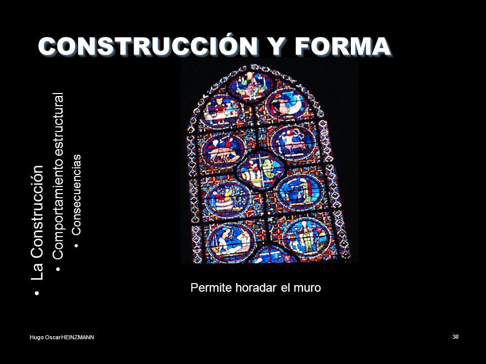 Hugo Oscar HEINZMANN38 CONSTRUCCIÓN Y FORMA CONSTRUCCIÓN Y FORMA La Construcción Comportamiento estructural Consecuencias Permite horadar el muro