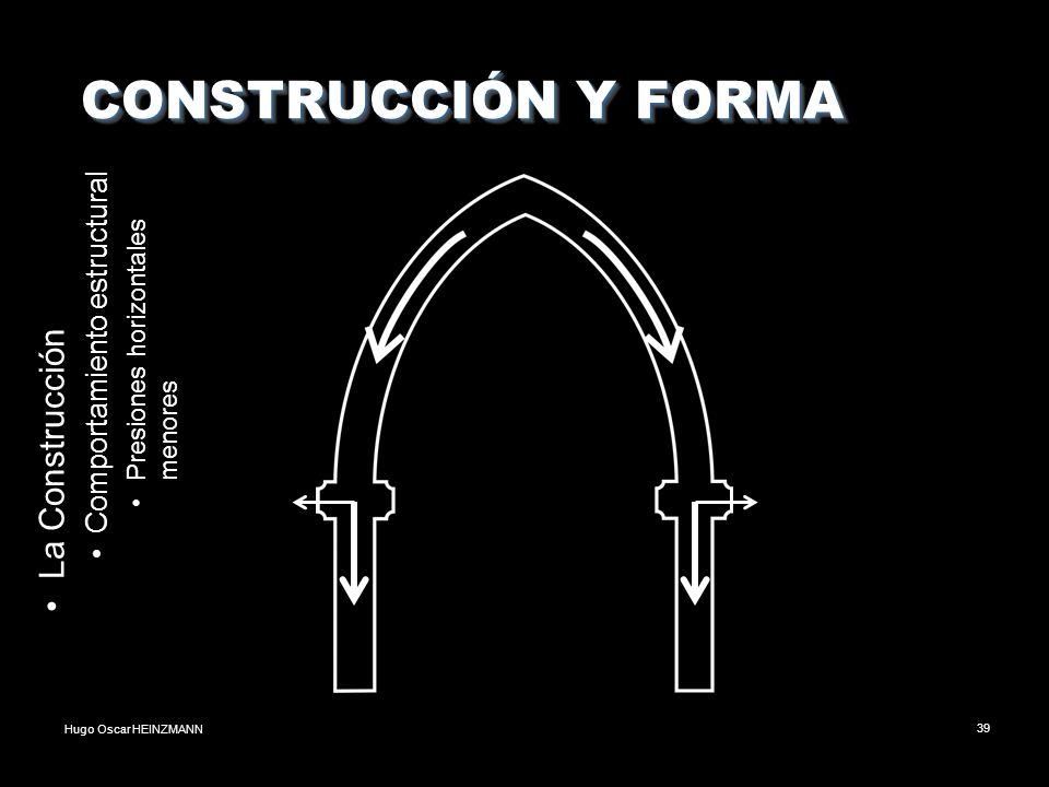 Hugo Oscar HEINZMANN39 CONSTRUCCIÓN Y FORMA CONSTRUCCIÓN Y FORMA La Construcción Comportamiento estructural Presiones horizontales menores