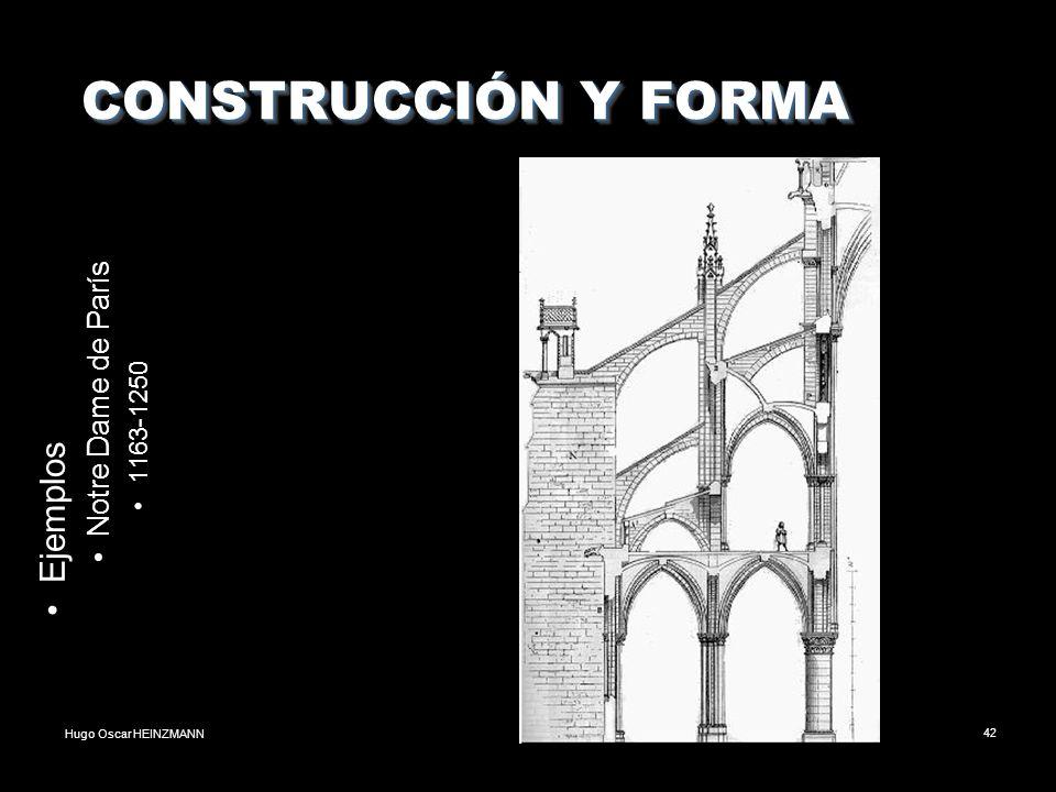 Hugo Oscar HEINZMANN42 CONSTRUCCIÓN Y FORMA CONSTRUCCIÓN Y FORMA Ejemplos Notre Dame de París 1163-1250