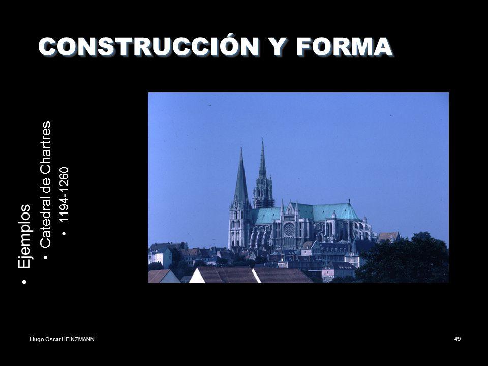Hugo Oscar HEINZMANN49 CONSTRUCCIÓN Y FORMA CONSTRUCCIÓN Y FORMA Ejemplos Catedral de Chartres 1194-1260
