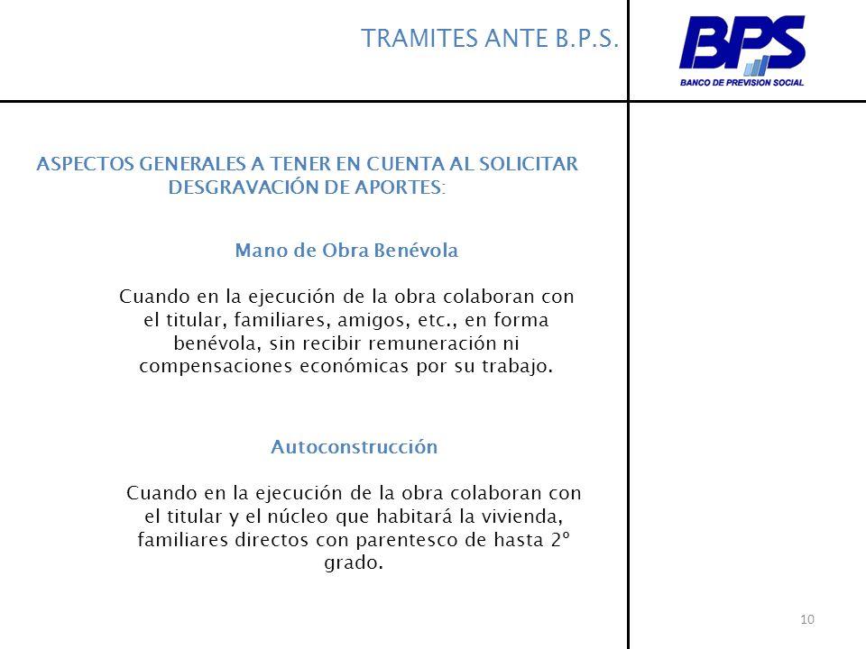 TRAMITES ANTE B.P.S.