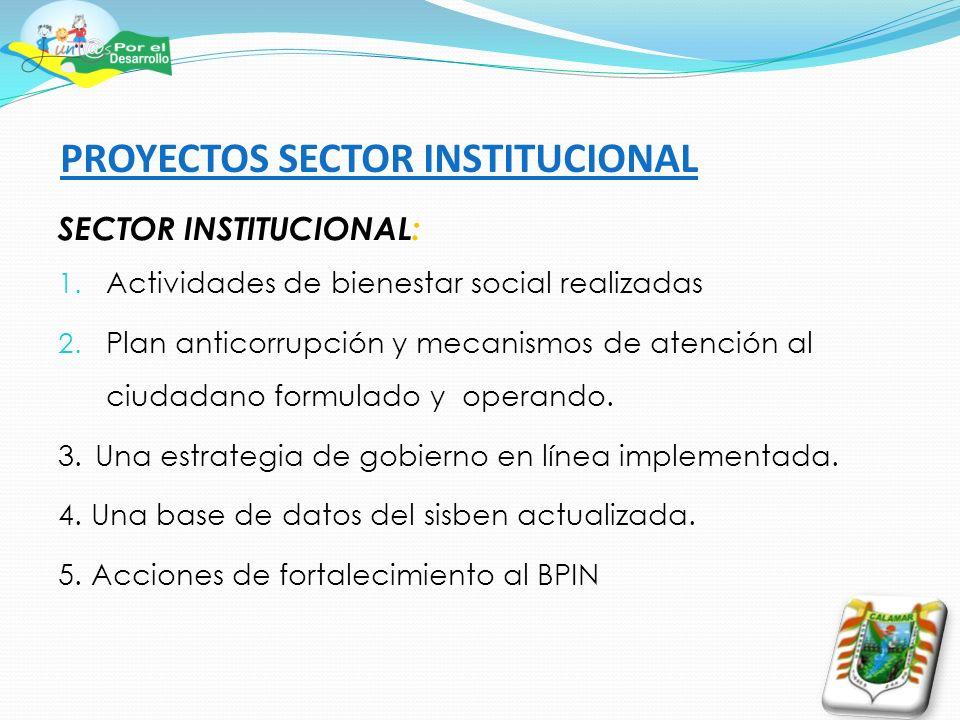 PROYECTOS SECTOR INSTITUCIONAL SECTOR INSTITUCIONAL: 1. Actividades de bienestar social realizadas 2. Plan anticorrupción y mecanismos de atención al