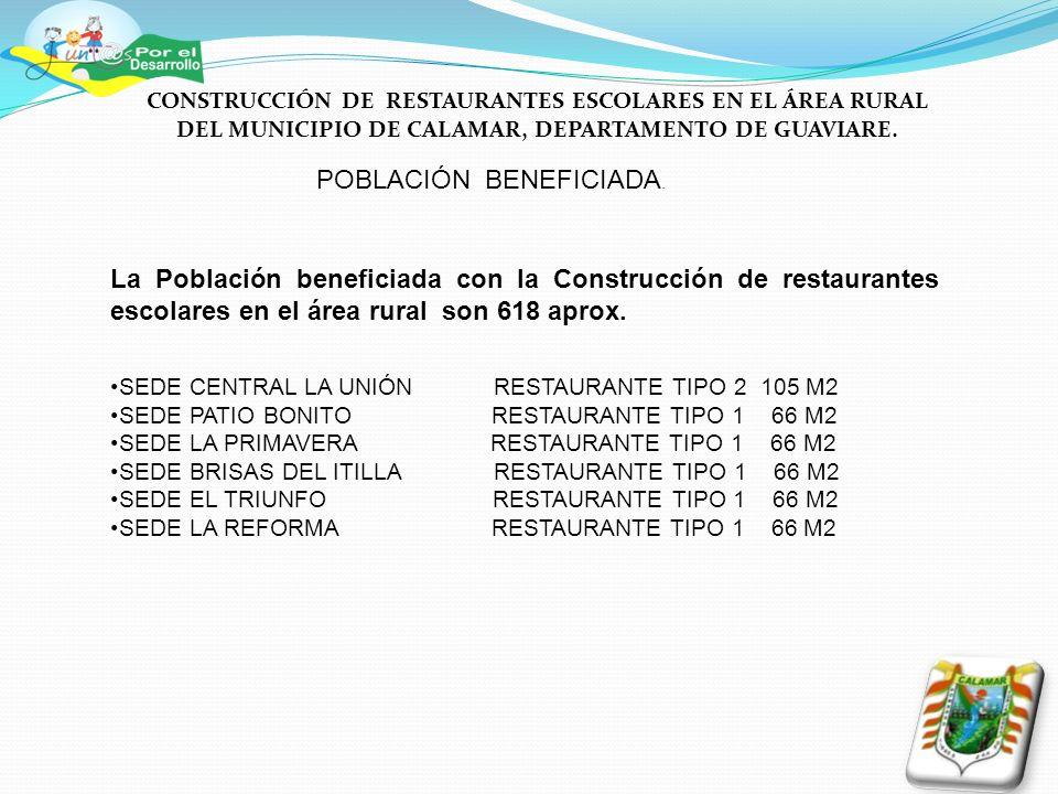 POBLACIÓN BENEFICIADA. La Población beneficiada con la Construcción de restaurantes escolares en el área rural son 618 aprox. SEDE CENTRAL LA UNIÓN RE