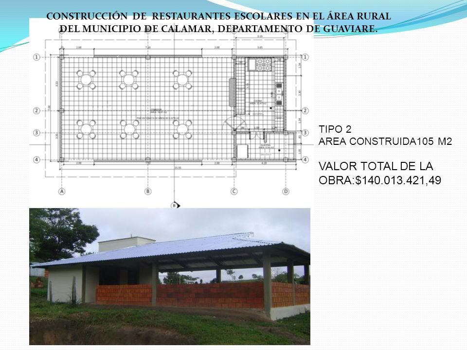TIPO 2 AREA CONSTRUIDA105 M2 VALOR TOTAL DE LA OBRA:$140.013.421,49