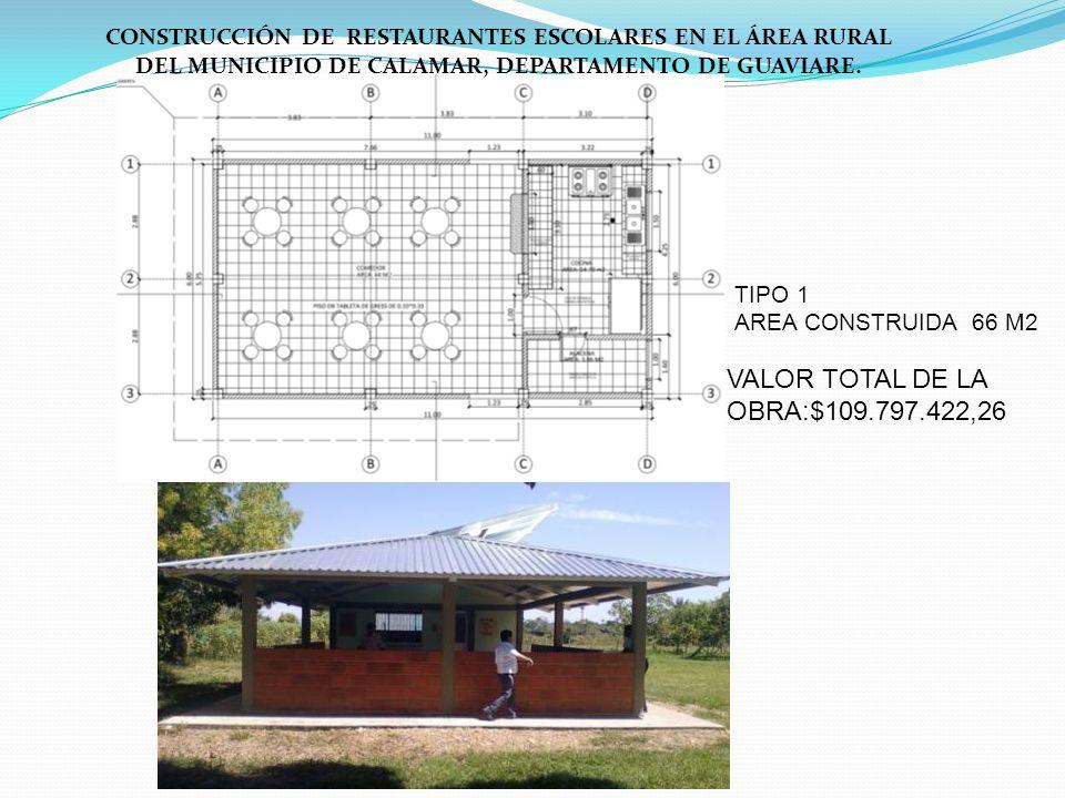 CONSTRUCCIÓN DE RESTAURANTES ESCOLARES EN EL ÁREA RURAL DEL MUNICIPIO DE CALAMAR, DEPARTAMENTO DE GUAVIARE. TIPO 1 AREA CONSTRUIDA 66 M2 VALOR TOTAL D