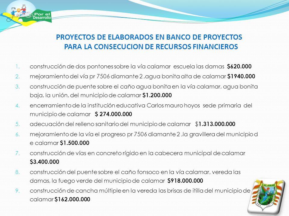 PROYECTOS DE ELABORADOS EN BANCO DE PROYECTOS PARA LA CONSECUCION DE RECURSOS FINANCIEROS 1. construcción de dos pontones sobre la vía calamar escuela