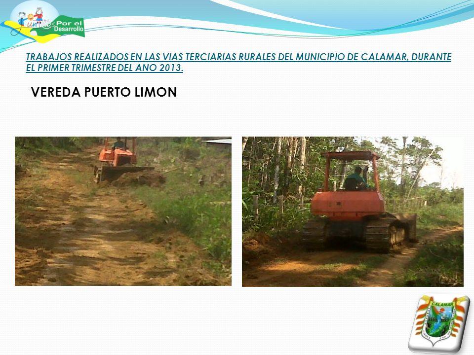 TRABAJOS REALIZADOS EN LAS VIAS TERCIARIAS RURALES DEL MUNICIPIO DE CALAMAR, DURANTE EL PRIMER TRIMESTRE DEL ANO 2013. VEREDA PUERTO LIMON