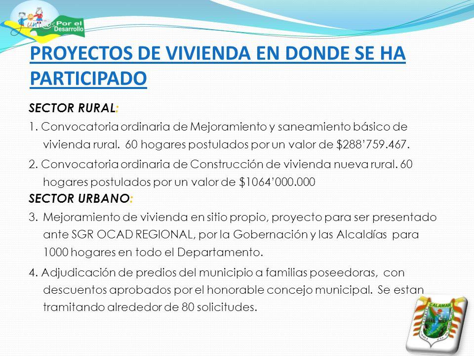 PROYECTOS DE VIVIENDA EN DONDE SE HA PARTICIPADO SECTOR RURAL: 1. Convocatoria ordinaria de Mejoramiento y saneamiento básico de vivienda rural. 60 ho
