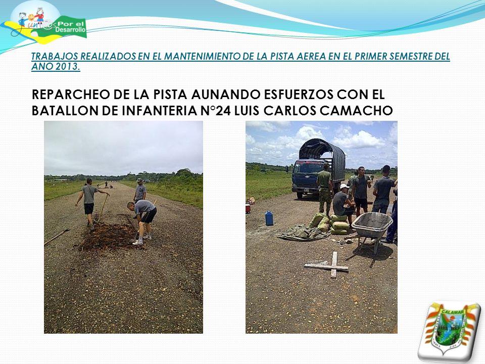 TRABAJOS REALIZADOS EN EL MANTENIMIENTO DE LA PISTA AEREA EN EL PRIMER SEMESTRE DEL ANO 2013.