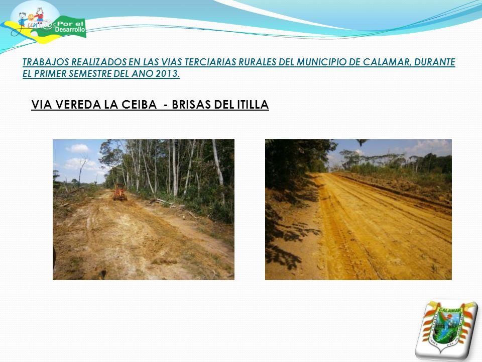 TRABAJOS REALIZADOS EN LAS VIAS TERCIARIAS RURALES DEL MUNICIPIO DE CALAMAR, DURANTE EL PRIMER SEMESTRE DEL ANO 2013. VIA VEREDA LA CEIBA - BRISAS DEL