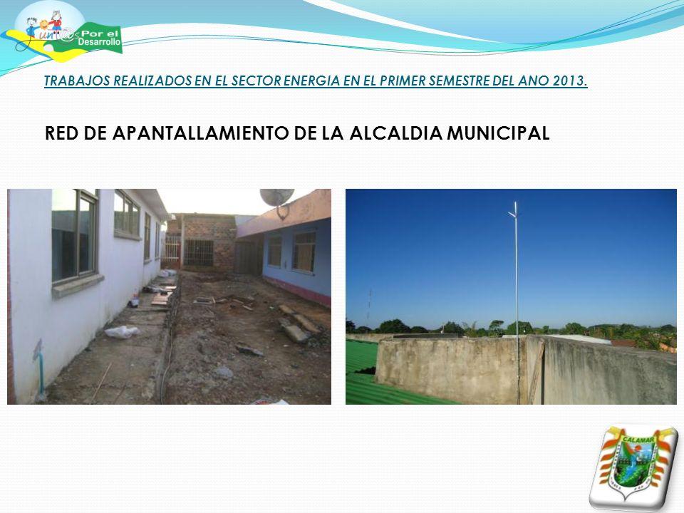 TRABAJOS REALIZADOS EN EL SECTOR ENERGIA EN EL PRIMER SEMESTRE DEL ANO 2013. RED DE APANTALLAMIENTO DE LA ALCALDIA MUNICIPAL