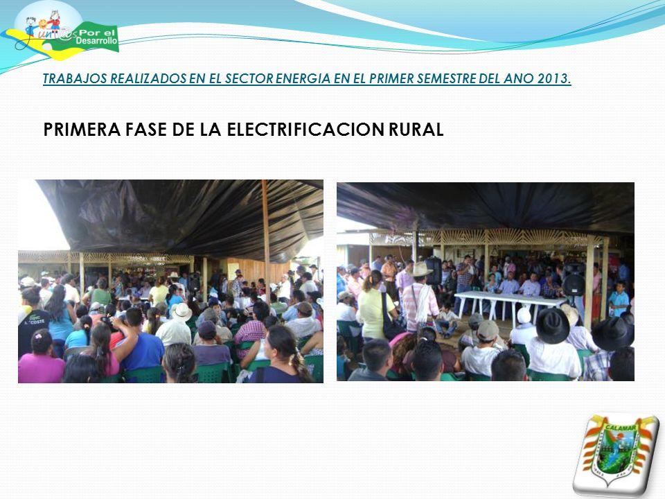 TRABAJOS REALIZADOS EN EL SECTOR ENERGIA EN EL PRIMER SEMESTRE DEL ANO 2013. PRIMERA FASE DE LA ELECTRIFICACION RURAL