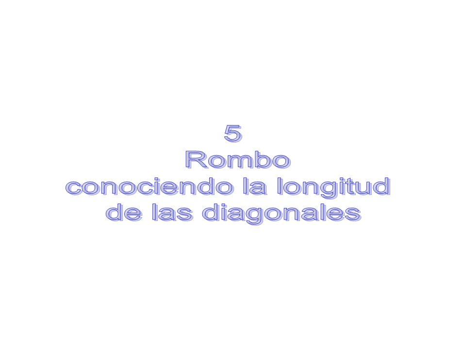 Construcción de un rombo conociendo la longitud de las diagonales: Procedemos igual que antes hasta trazar la recta mediatriz de la diagonal menor.