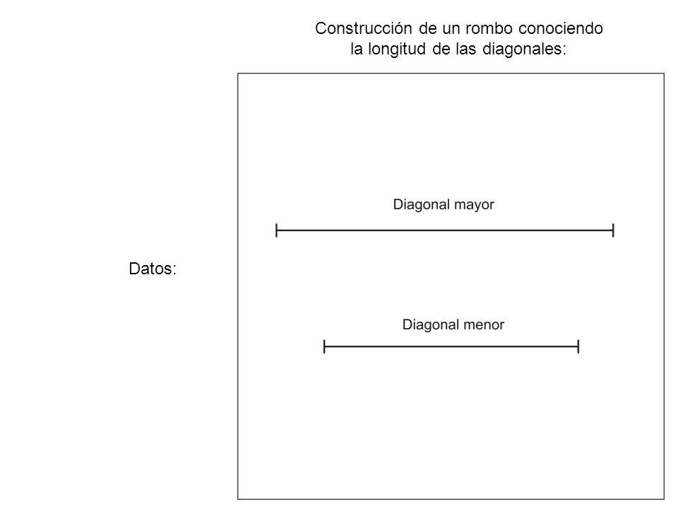 Construcción de un rombo conociendo la longitud de las diagonales: La mediatriz, al pasar por el punto medio de la diagonal menor, la divide en dos mitades iguales.