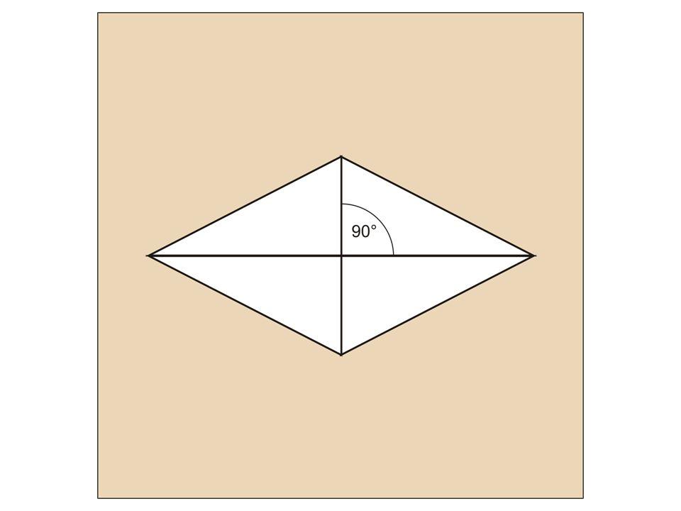 Construcción de un rombo conociendo la longitud de las diagonales: Disponemos el cartabón de forma centrada en el papel y con un cateto en posición horizontal.
