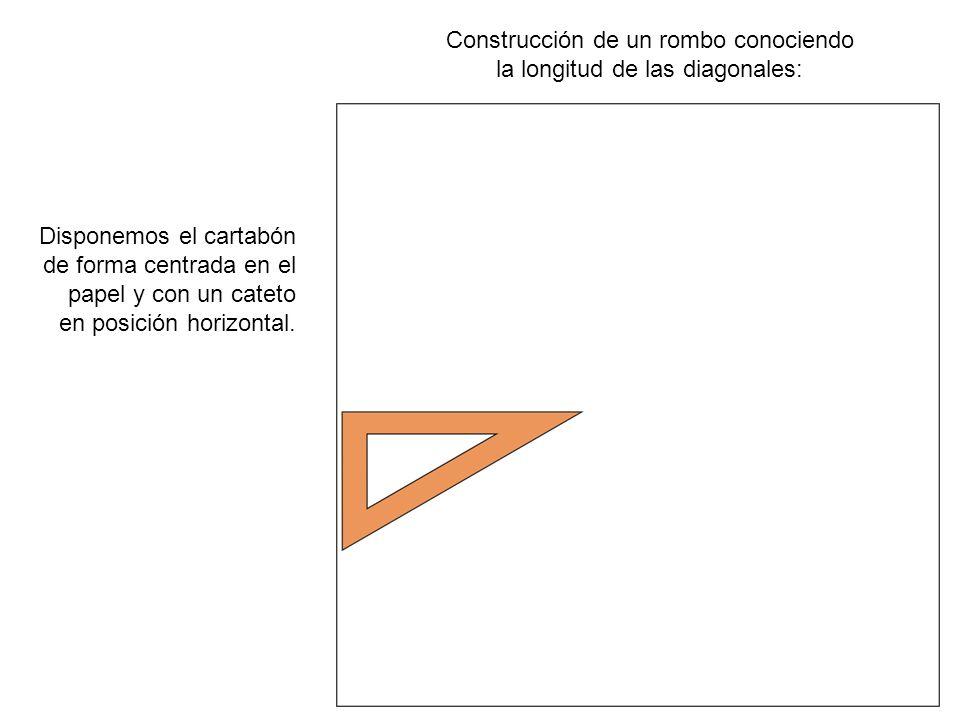 Construcción de un rombo conociendo la longitud de las diagonales: Trazamos la recta horizontal que servirá de eje para el resto de la construcción.