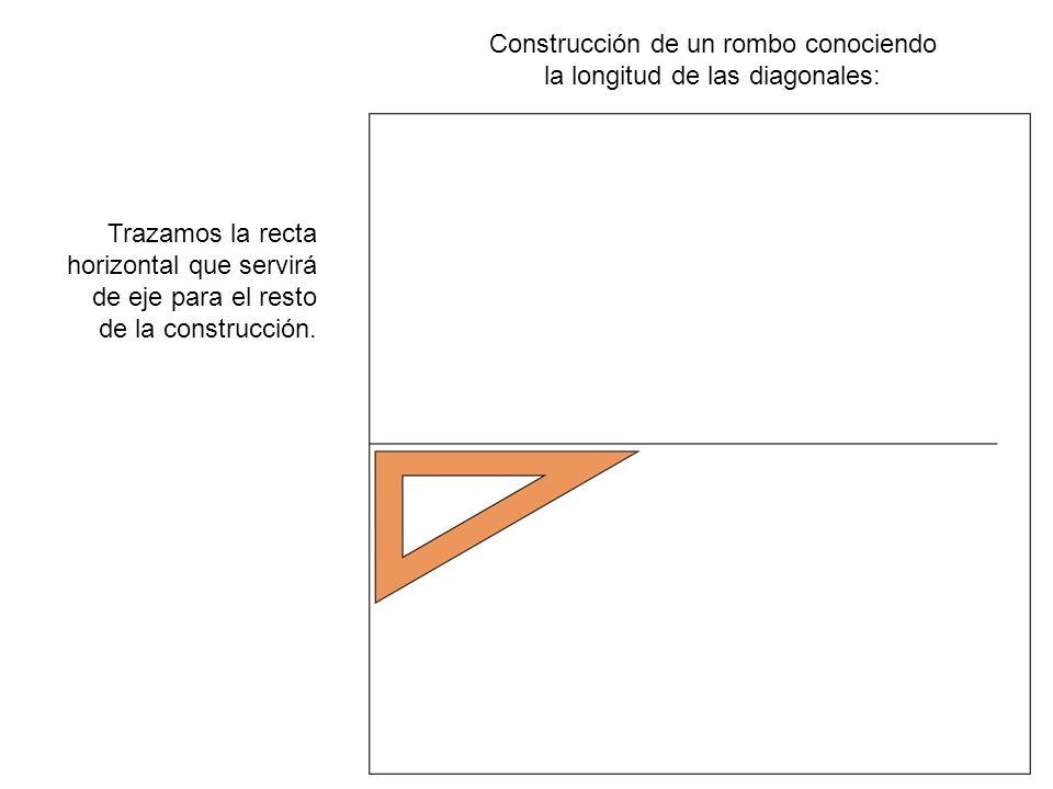 Construcción de un rombo conociendo la longitud de las diagonales: Marcamos sobre la recta horizontal la longitud de la diagonal mayor.