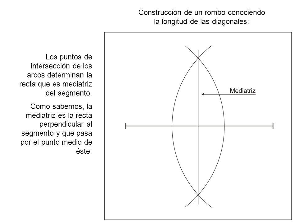 Construcción de un rombo conociendo la longitud de las diagonales: A continuación tomamos la diagonal menor y nos preparamos a obtener la mitad de su longitud.