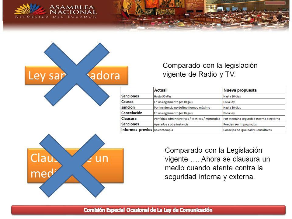 Ley sancionadora Comparado con la legislación vigente de Radio y TV.