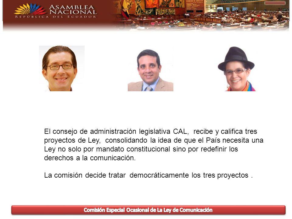 El consejo de administración legislativa CAL, recibe y califica tres proyectos de Ley, consolidando la idea de que el País necesita una Ley no solo por mandato constitucional sino por redefinir los derechos a la comunicación.