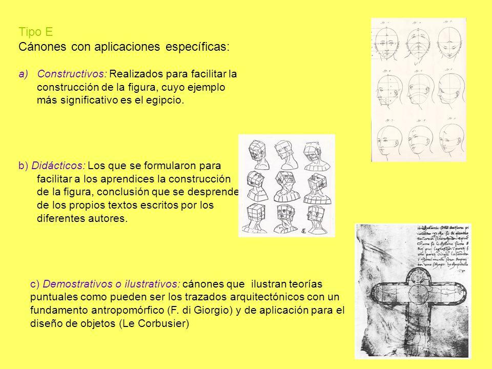 Tipo E Cánones con aplicaciones específicas: a)Constructivos: Realizados para facilitar la construcción de la figura, cuyo ejemplo más significativo e