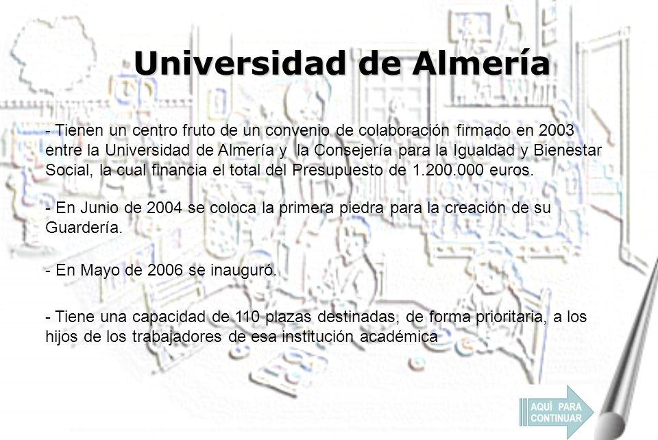 Universidad de Almería - En Junio de 2004 se coloca la primera piedra para la creación de su Guardería.
