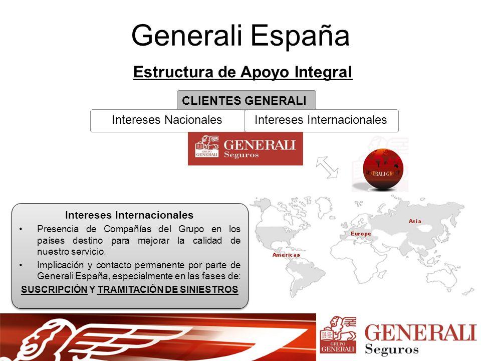 Generali España Estructura de Apoyo Integral CLIENTES GENERALI Intereses InternacionalesIntereses Nacionales Intereses Internacionales Presencia de Compañías del Grupo en los países destino para mejorar la calidad de nuestro servicio.