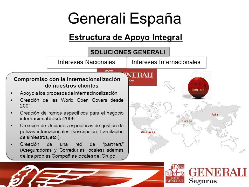 Intereses Nacionales Generali España Estructura de Apoyo Integral SOLUCIONES GENERALI Intereses Internacionales Compromiso con la internacionalización de nuestros clientes Apoyo a los procesos de internacinoalización.