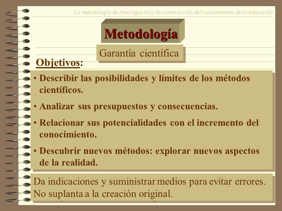 14 Metodología La metodología de investigación y la construcción del conocimiento de la educación Garantía científica Describir las posibilidades y lí