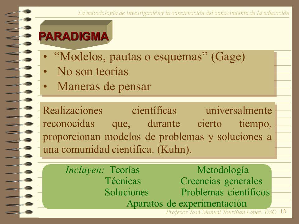 18 La metodología de investigación y la construcción del conocimiento de la educación Modelos, pautas o esquemas (Gage) No son teorías Maneras de pens