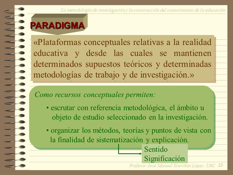 23 La metodología de investigación y la construcción del conocimiento de la educación «Plataformas conceptuales relativas a la realidad educativa y de
