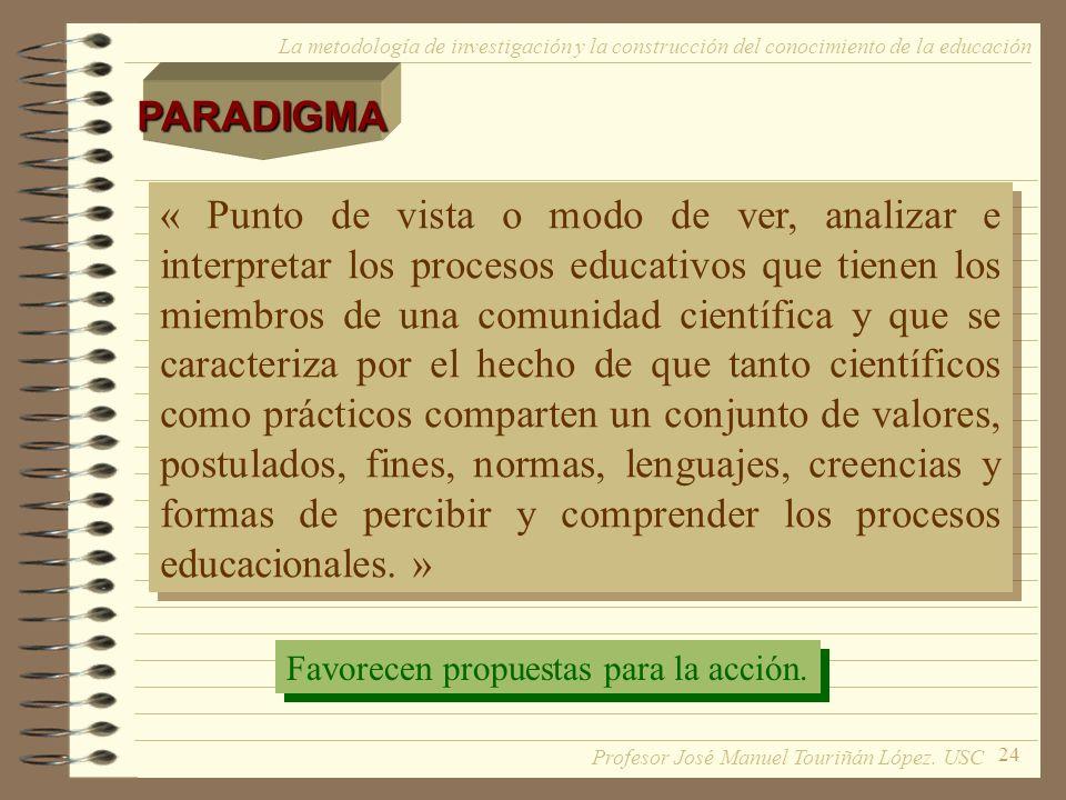 24 La metodología de investigación y la construcción del conocimiento de la educaciónPARADIGMA « Punto de vista o modo de ver, analizar e interpretar