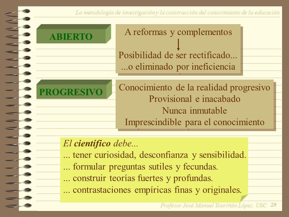 29 La metodología de investigación y la construcción del conocimiento de la educación ABIERTO PROGRESIVO A reformas y complementos Posibilidad de ser