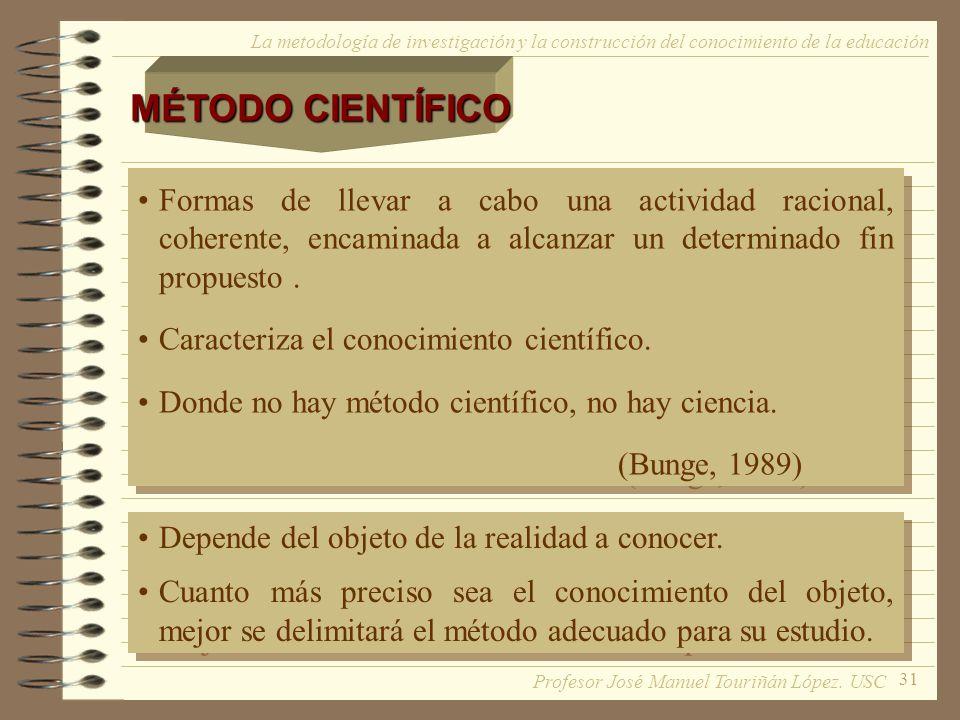 31 La metodología de investigación y la construcción del conocimiento de la educación MÉTODO CIENTÍFICO Formas de llevar a cabo una actividad racional