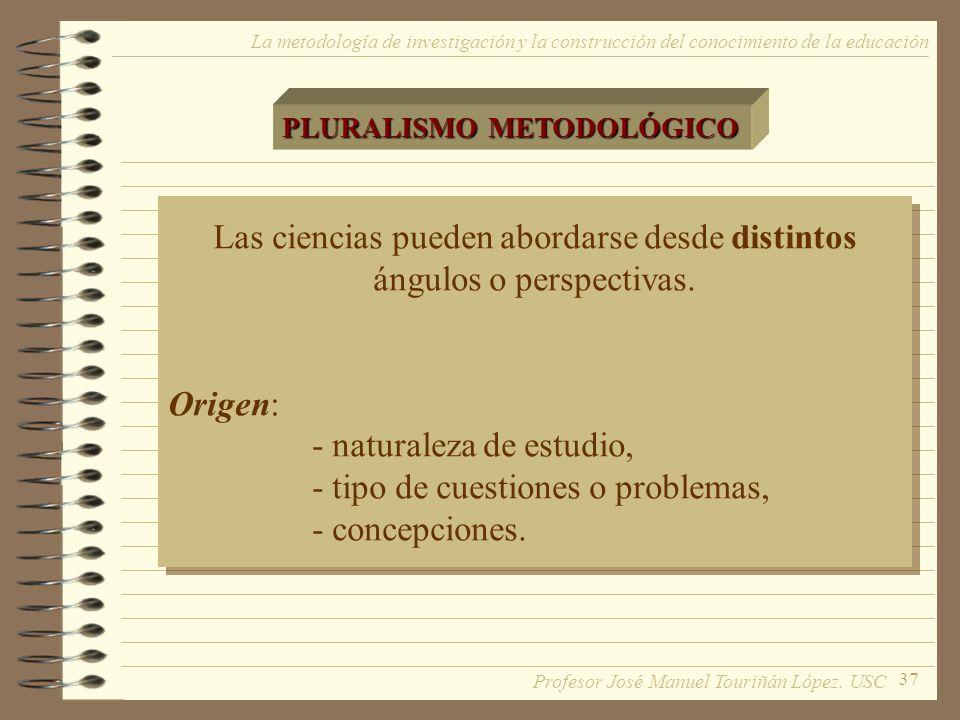 37 La metodología de investigación y la construcción del conocimiento de la educación PLURALISMO METODOLÓGICO Las ciencias pueden abordarse desde dist