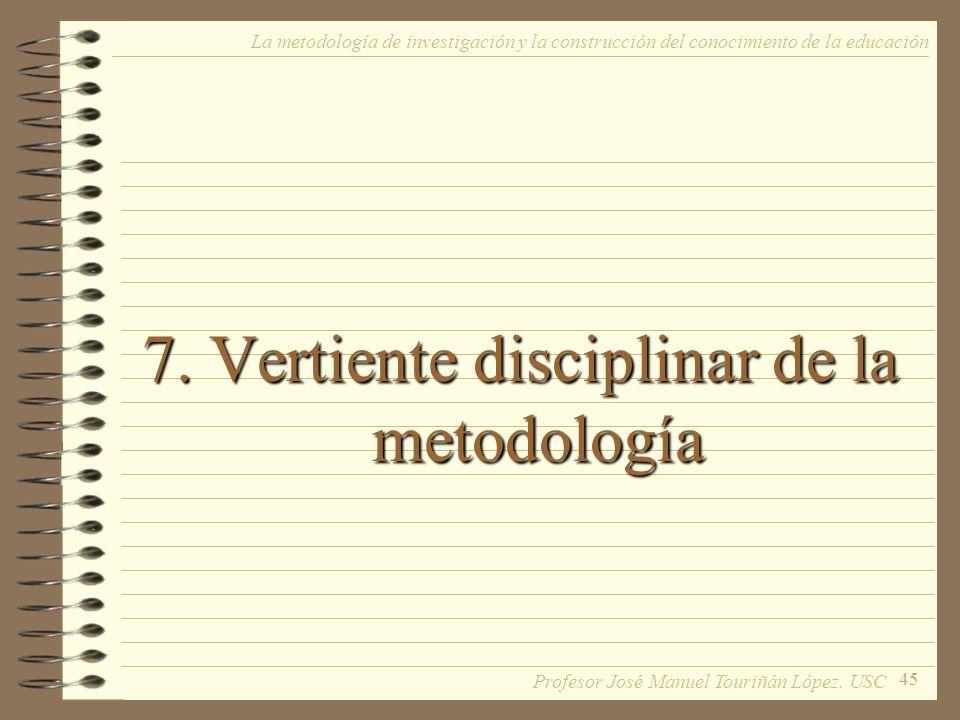 45 7. Vertiente disciplinar de la metodología La metodología de investigación y la construcción del conocimiento de la educación Profesor José Manuel