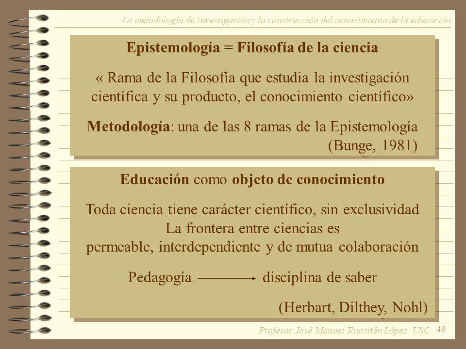 49 La metodología de investigación y la construcción del conocimiento de la educación Epistemología = Filosofía de la ciencia « Rama de la Filosofía q
