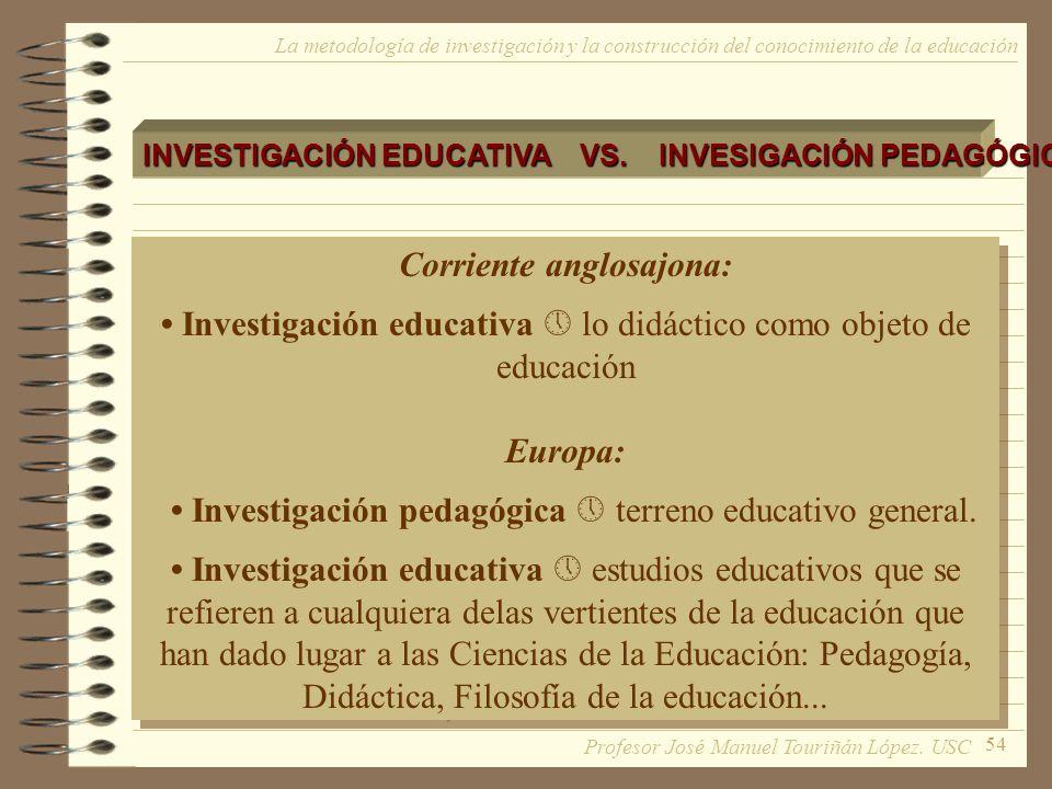 54 La metodología de investigación y la construcción del conocimiento de la educación INVESTIGACIÓN EDUCATIVA VS. INVESIGACIÓN PEDAGÓGICA Corriente an