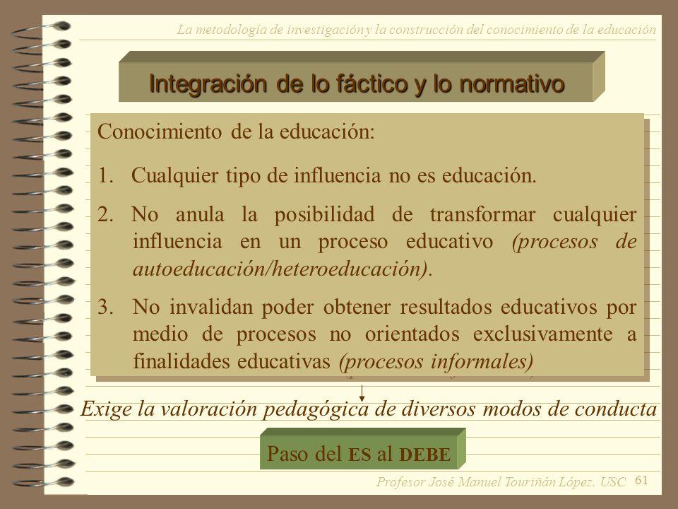 61 La metodología de investigación y la construcción del conocimiento de la educación Conocimiento de la educación: 1. Cualquier tipo de influencia no