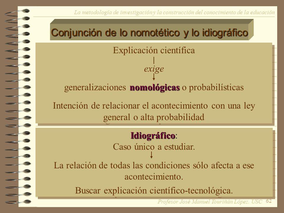 62 La metodología de investigación y la construcción del conocimiento de la educación Conjunción de lo nomotético y lo idiográfico Explicación científ