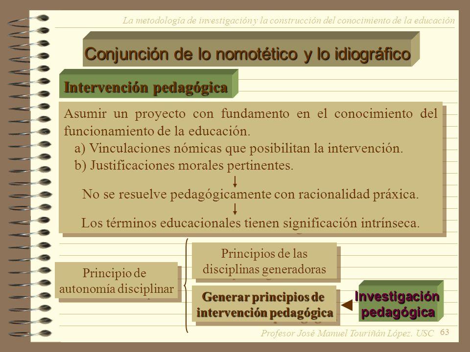 63 La metodología de investigación y la construcción del conocimiento de la educación Conjunción de lo nomotético y lo idiográfico Intervención pedagó