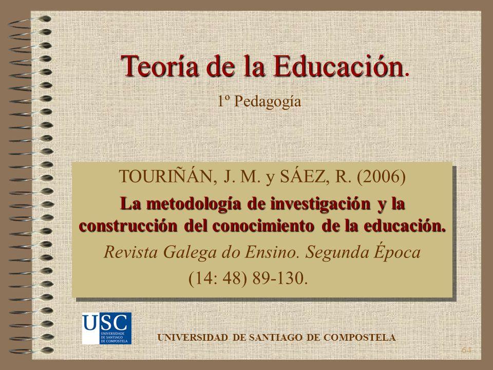 64 Teoría de la Educación Teoría de la Educación. TOURIÑÁN, J. M. y SÁEZ, R. (2006) La metodología de investigación y la construcción del conocimiento