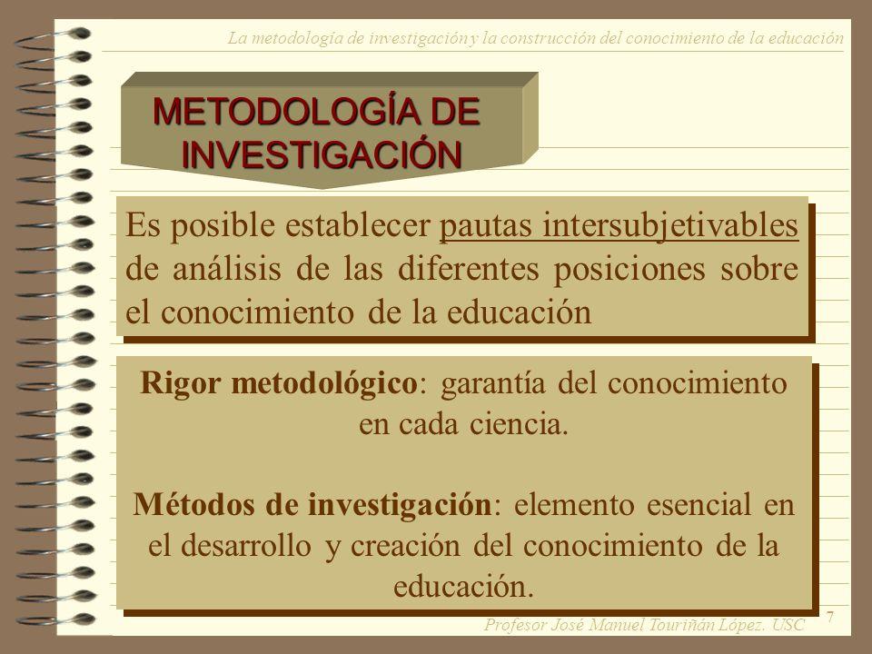 7 Es posible establecer pautas intersubjetivables de análisis de las diferentes posiciones sobre el conocimiento de la educación Rigor metodológico: g