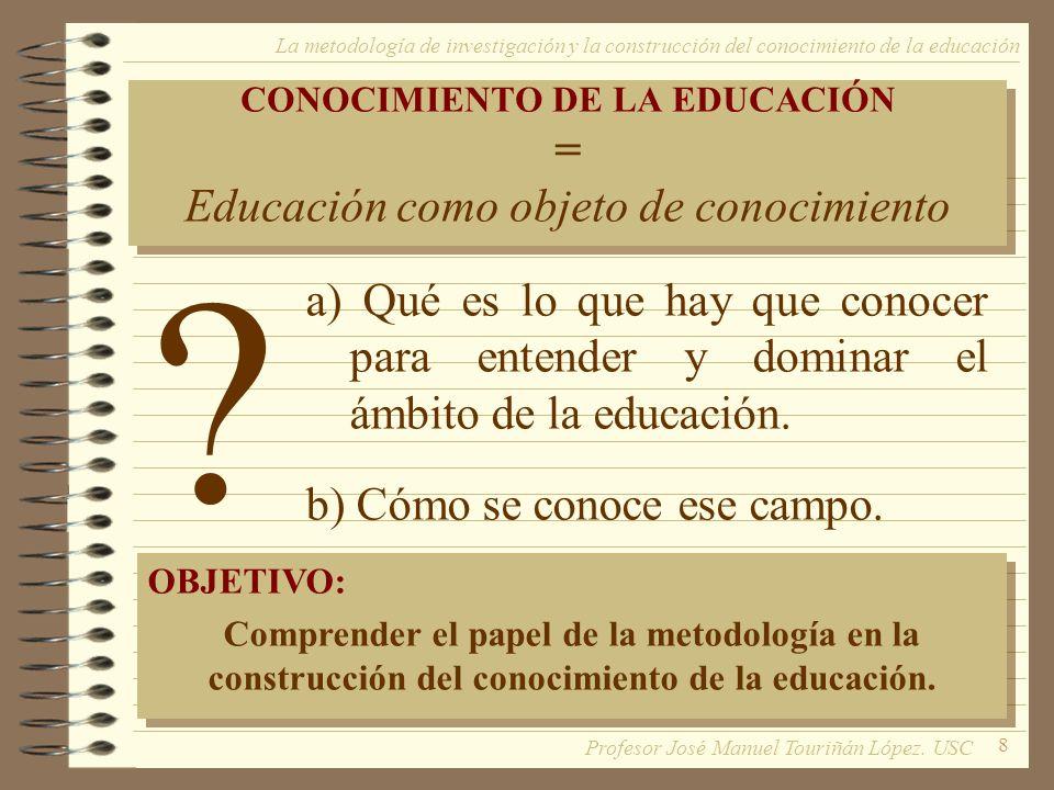 8 CONOCIMIENTO DE LA EDUCACIÓN = Educación como objeto de conocimiento CONOCIMIENTO DE LA EDUCACIÓN = Educación como objeto de conocimiento a) Qué es