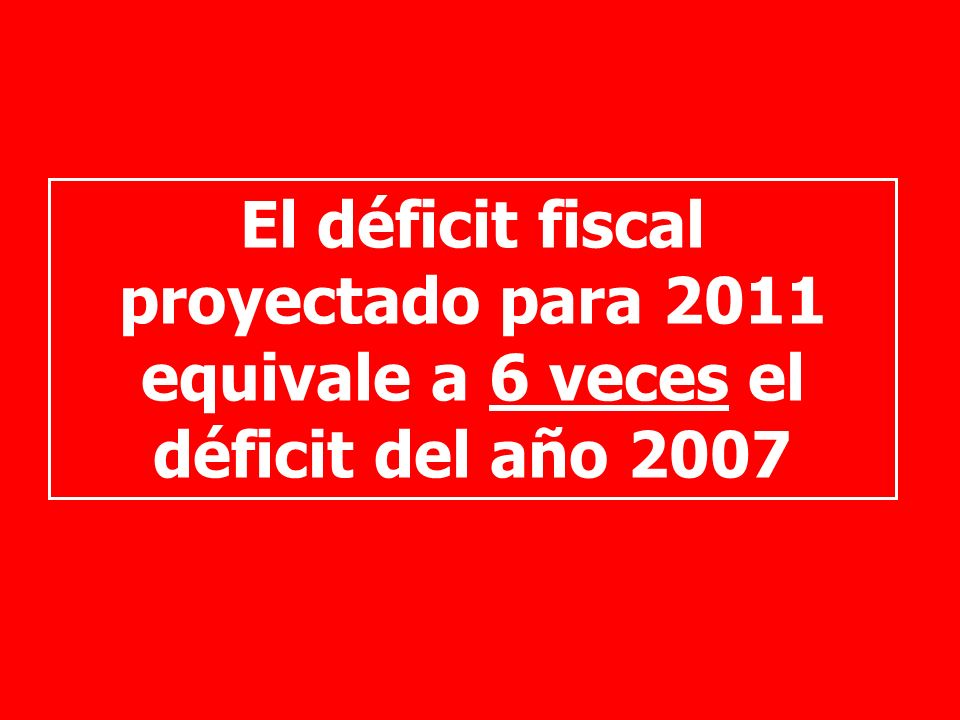 El déficit fiscal proyectado para 2011 equivale a 6 veces el déficit del año 2007
