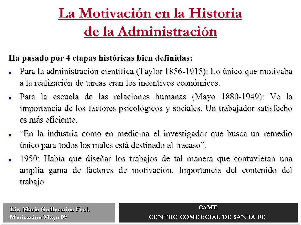 La Motivación en la Historia de la Administración Ha pasado por 4 etapas históricas bien definidas: Para la administración científica (Taylor 1856-1915): Lo único que motivaba a la realización de tareas eran los incentivos económicos.