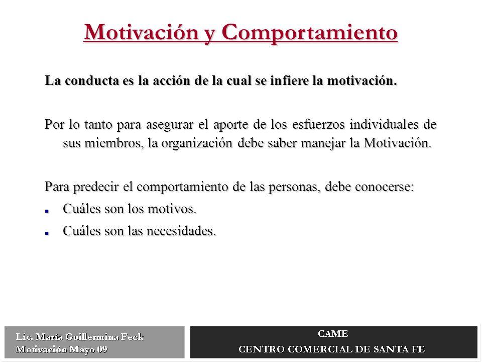 Motivación y Comportamiento La conducta es la acción de la cual se infiere la motivación.